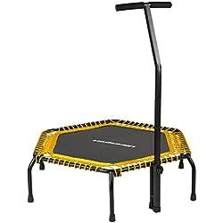 Trampoline Fitness Ultrasport, Guidon Solide et Ressorts Elastiques pour la plus Grande Sécurité Appareil d'Intérieur Parfait pour la Maison, Jumping Fitness, en: jaune (souple)