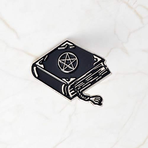 JTXZD Brosche Witch Divination Book Magic Ball Emaille Pins Abzeichen Gothic Dark Broschen Denim Mantel s für Frauen Männer