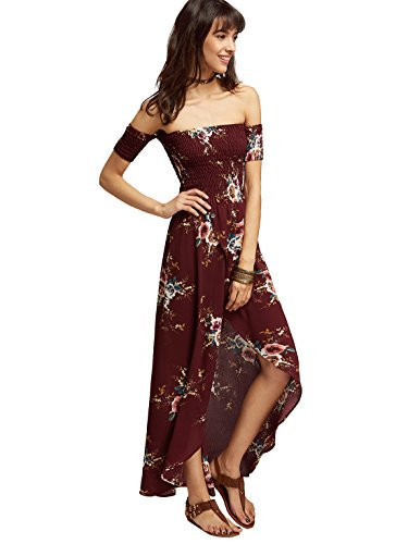 ROMWE Damen Schulterfreies Lang Kleid mit Blumenmuster Sommerkleider Maxikleider Rot
