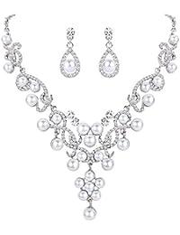 fanze cristal austriaco perla simulada de la mujer Gorgeous Flores Vine collar pendientes juego de joyería