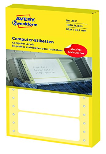 Avery Zweckform 3611 Computer-Etiketten (Papier matt, 1,000 Etiketten, 88,9 x 35,7 mm) 1 Pack weiß