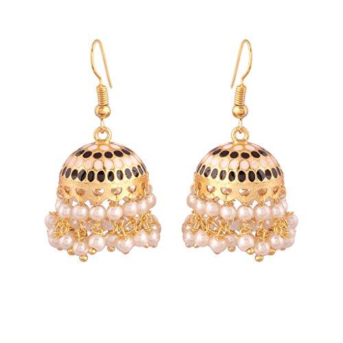 I Jewels Jaipur Collection Rajasthani Jhumka/Jhumki Earrings with Meenakari work for Women E2548B