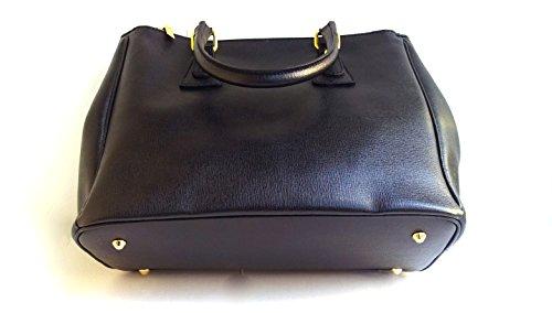 SUPERFLYBAGS Sac à main en cuir véritable Saffiano Model GINA Format A4 Fabriqué en Italie noire