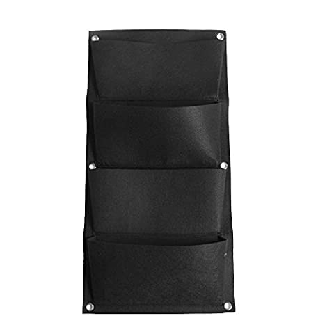 Loriver Black 4 Pocket Vertical Wall Hanging Garden Planter, Grow Container Bags, Wall Mount Balcony Plant Grow Bag for Yards, Apartments, Balconies, Patios, Schoolyards, Easy to Hang & Fill with Flowers, Herbs &