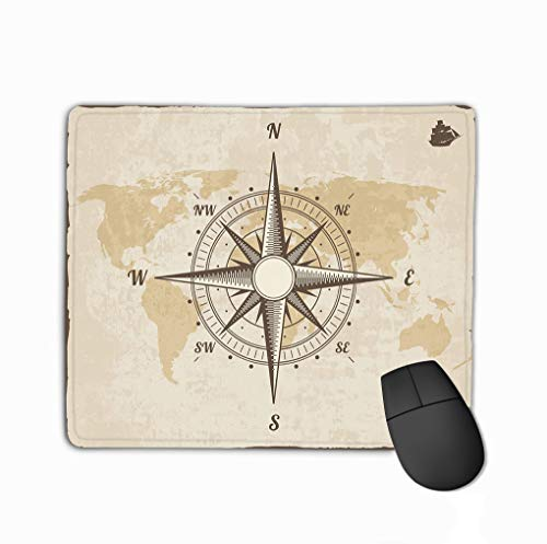 Mouse Pad Vintage Nautical Compass Old World map Paper Texture Torn Border Frame Wind Rose Background Ship Logo Dreamy Rectangle Rubber Mousepad 11.81 X 9.84 Inch