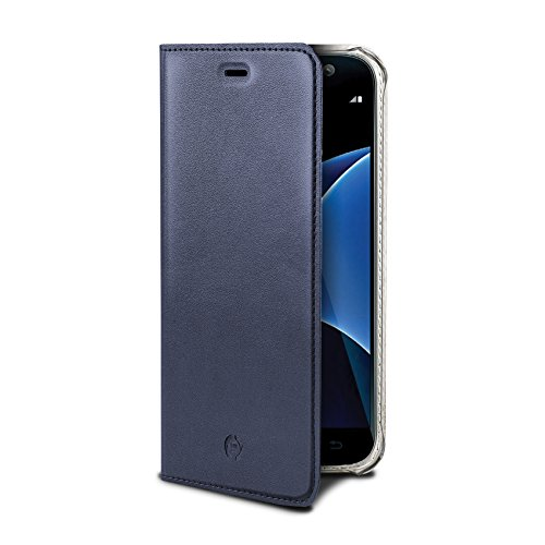 Celly airpelle Agenda Leder Wallet Cover Schutzhülle mit Glasfaser für Samsung Galaxy S7Edge–Blau