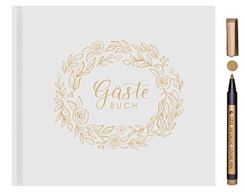 Kamoro Gästebuch Hochzeit Weiß - Hardcover mit Goldfolie und goldenem Rand - 120 weiße Seiten - Hochzeitsalbum Hochzeitsgeschenk mit Goldstift