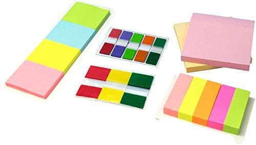 MW Handel Haftnotizzettel-Box, FSC mix Notizzettel, Pagemarker, Tape-Flags, 19-teilig