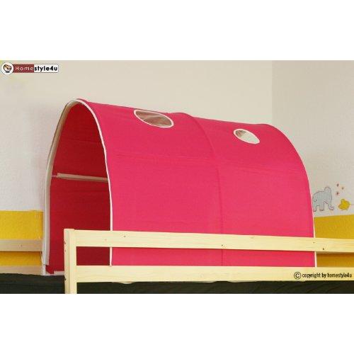 Homestyle4u 556, Kinder Tunnel Für Hochbett, Pink Rosa, Baumwolle, 90 cm Breit