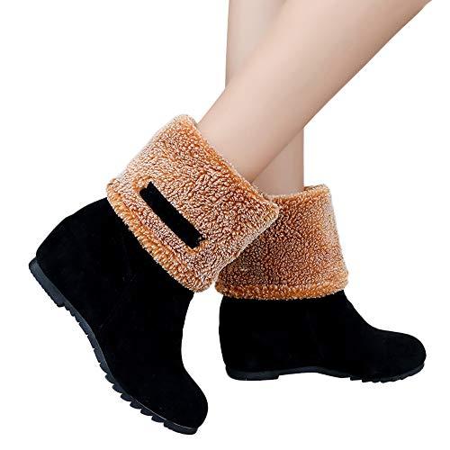 Stiefel Damen Martain Boots Frauen Schneestiefel Wildleder Flache Runde Zehe Keile Schuhe Halten Warme Winterschuhe Slip-On Plüsch Snow Boots