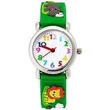 Happy Cherry - 3D Reloj de Pulsera Silicona Analógico Cuarzo para Niñas Niños Colorido Dibujo Animal