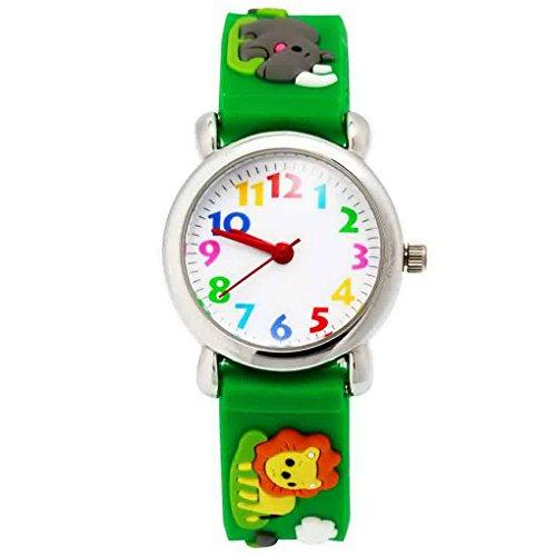 Happy Cherry - 3D Reloj de Pulsera Silicona Analógico Cuarzo para Niñas Niños Colorido Dibujo Animal Watch Kid - Verde - León Rinoceronte