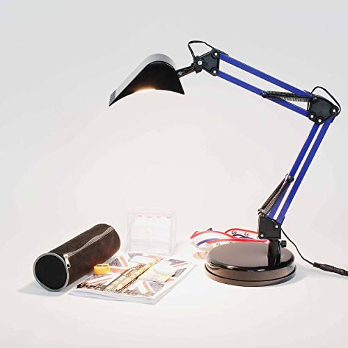 Licht-Erlebnisse Kinder Bagger Schreibtischlampe, Blau Schwarz Metall 400lm