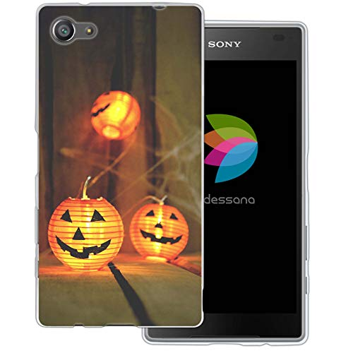 dessana Halloween Transparente Schutzhülle Handy Case Cover Tasche für Sony Xperia Z5 Compact Kürbis Lampion