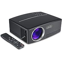 """TOQIBO Beamer Mini Video Projektor LED 1800 ANSI Lumen Lichtausbeute 180"""" LCD Mini Heimprojektor Für Outdoor Indoor Filmerlebnis Und Heimkino (Schwarz)"""