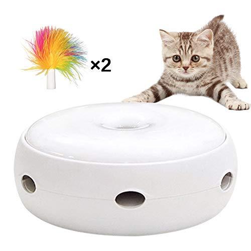 ONEVER Katze Interaktives Spielzeug Katze Elektrische Fangfeder Katzenspielzeug mit elektronischer rotierender Feder Automatisches Spielzeug für Katze oder Kätzchen