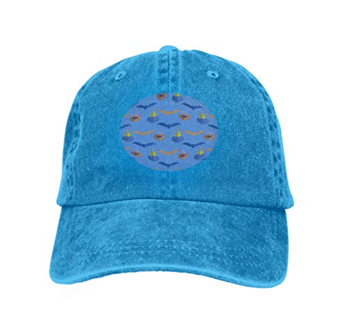 Fashion Adjustable Sandwich Cap Halloween Pattern Holiday Design Design Template Haunted cas Blue ()