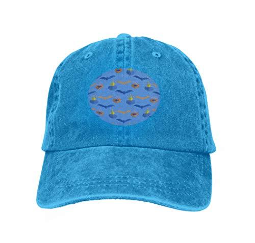 Men's Baseball Caps Fashion Adjustable Sandwich Cap Halloween Pattern Holiday Design Design Template Haunted cas Blue (Arizona Texas Halloween)