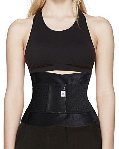 Junlan Waist Trimmer Ab Belt Stomach Wrap for Faster Weight Loss amp; Maximize Your Sweat - For Women amp; Men (L, Black)