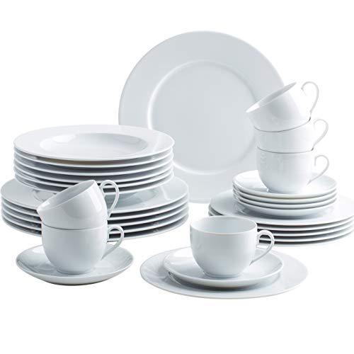 KAHLA 050813O90005B Aronda weiß rund Geschirrset 30-teilig für 6 Personen Teller Weiss rund Suppenteller großer Speiseteller Tassen