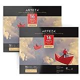 Arteza Acrylblock — Weißes Malpapier für Acrylfarben und Ölfarben — Acrylpapier (246lb/400g) — 16 Blätter Pro Malblock 2 Stück Set — Din A4 (27.9 cm x 35.5cm)