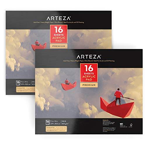 ARTEZA Cuadernos de pintura acrílica | Tamaño 27, 9 x 35,5 cm | Pack de 2 blocs de papel pesado (400g) para pintar con acrílico y óleo | 16 lienzos por cuaderno (32 en total) | Encuadernados con cola
