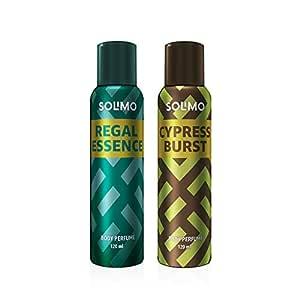 Amazon Brand - Solimo No Gas Deodorant - Pack of 2 (Regal Essence, Cypress Burst)