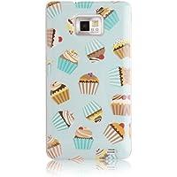 JAMMYLIZARD Custodia Cupcakes per Samsung Galaxy S2 TIRAMISU, pellicola proteggi schermo inclusa