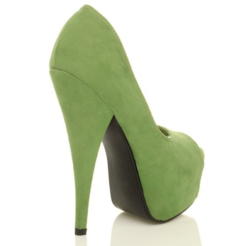 Open Delle Sandali Classici Camoscio Alto Luce Tacco Donne Toe Verde Dimensioni 5twtfqX