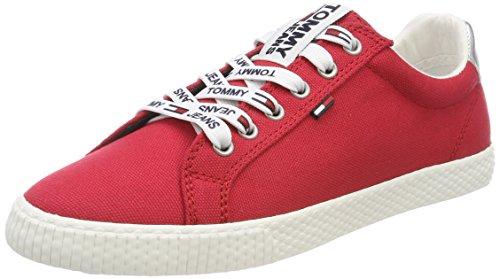 Tommy Jeans Hilfiger Denim Casual Sneaker, Zapatillas Para Mujer, Rojo (Tango Red 611), 37 EU