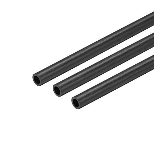 sourcing map 3Stk. Kohlefaser rundes Rohr Pultrusion Schlauch Kohlefaserröhre 3mm x 2mm x 200mm - Rohr Carbon Faser 3