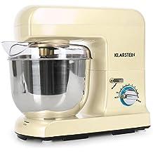 Klarstein Gracia robot de cocina multifunción (1.3 HP, recipiente de acero inoxidable de 5 litros, 3 accesorios para batir y amasar) - crema