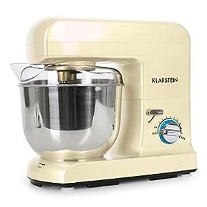 Klarstein Gracia Morena II robot de Cuisine pâtissier multifonctions (5 litres, 1000W, 10 vitesses, batteur, mixeur, fouet et pétrin) - crème