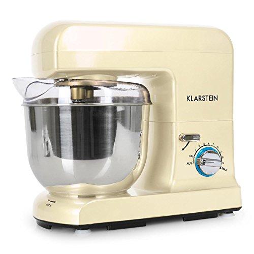 Klarstein Gracia Morena Küchenmaschine Rührgerät (1000 Watt, 10-stufige Geschwindigkeit, 5 Liter-Rührschüssel) creme
