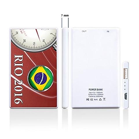 ADDIES Powerbank RIO DE JANEIRO '16 2200mAh externer Akku Zusatzakku für Smartphone bedruckt mit schönem Motiv bedruckt. Sport