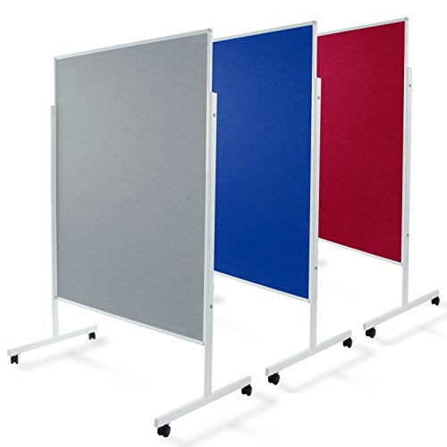 Moderationstafel Filz | doppelseitig | mit Rollen | Höhe: 185 cm | Farbe wählbar (blau)
