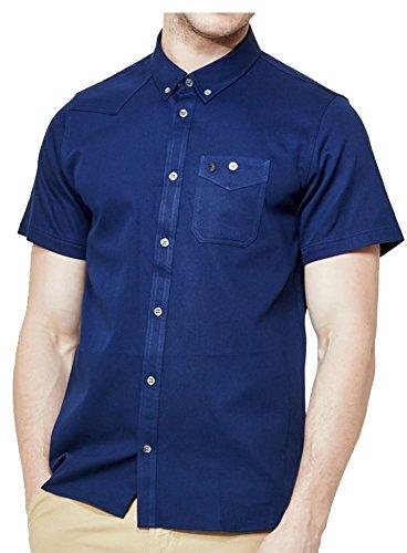 LUKE Uomo Da Baseball Adam Keyte S/s Dal Collare Lux Camicia Blu Marino M