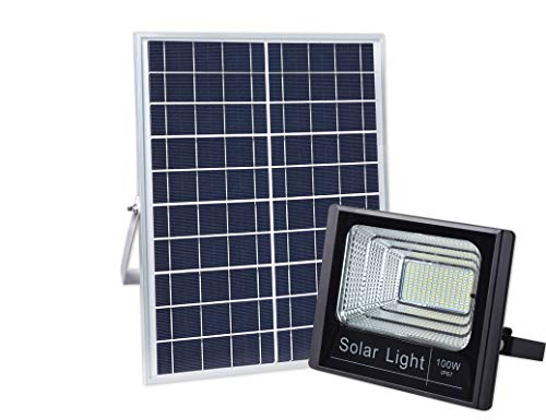 100W Solar Powered Street Flood Lights, 196 LEDs 5,000 Lumens Outdoor Waterproof IP67 with Remote Control Security Lighting for Yard, Garden, Gutter, Swimming Pool, Pathway, Basketball Court, Arena -