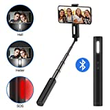 Yoozon Bluetooth Selfie Stick mit Licht(2 Heilligkeiten in Weiß/SOS Leuchte)und eingebauter Fernbedienung,Aluminium Mini Selfiestick,Selfie Stange Monopod für alle 3,5-6,5' Androind iPhone Smartphones