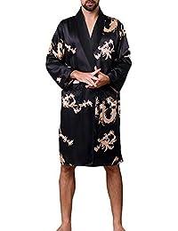 Pijamas de Hombre de Otoño Manga Larga Bata de Baño de Kimono Suave y Cómodo Ropa