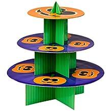 Premier Housewares Pumpkin alzata a 3piani, in cartone, arancione/verde/viola, 36x 36x 37cm