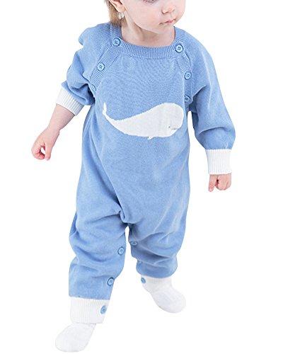 Kleinkind Baby Mädchen Junge Overall Strick Strampler Lange Ärmel Pullover Overall Himmelblau 73