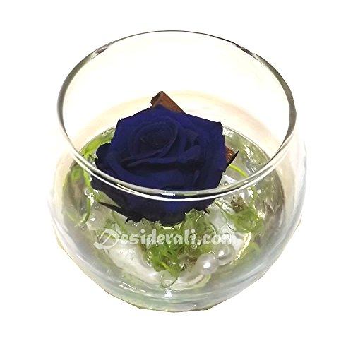 Sfera piccola vetro con rosa blu stabilizzata