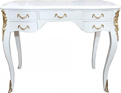Casa Padrino Luxus Barock Schreibtisch Weiß Hochglanz/Gold 100 x 80 x 58 cm- Sekretär Luxus Möbel