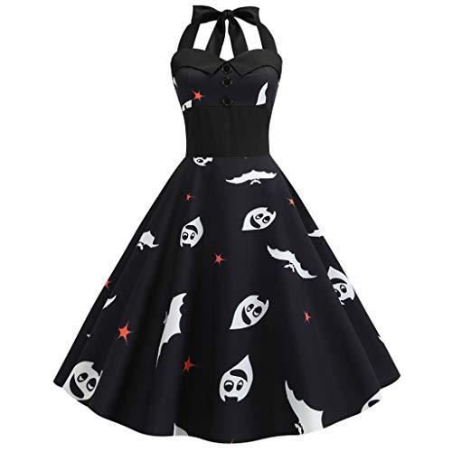 Geburtstag Mädchen Cap Sleeve T-shirt (FOTBIMK Halloween Kleid, Damen Vintage Print ärmellos Neckholder Abend Party Swing Plissee Kleider (Schwarz-C, Medium))