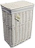 WoodLuv Medium Rectangular Laundry Linen Wicker Basket, White