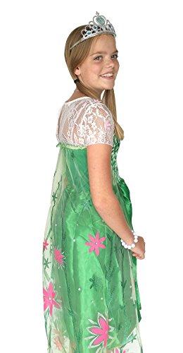 Imagen de la señorita elsa frozen fever vestido de princesa para niña capa largo disfraz verde 5 6 años  120, verde + collar frozen gratuito