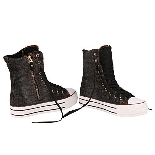 Damen Sneakers High | Zipper Camouflage Boots | Sneaker Stiefel Denim | Schnürstiefeletten Schwarz Zipper