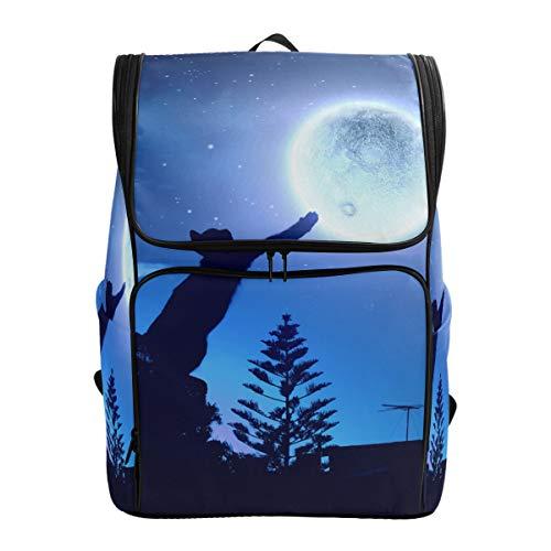 Emoya Cacual Rucksack aus Segeltuch mit schwarzer Katze im springenden Mond, Galaxy, Tagesrucksack, Reisetasche, Schulranzen für Teenager, Mädchen und Jungen -