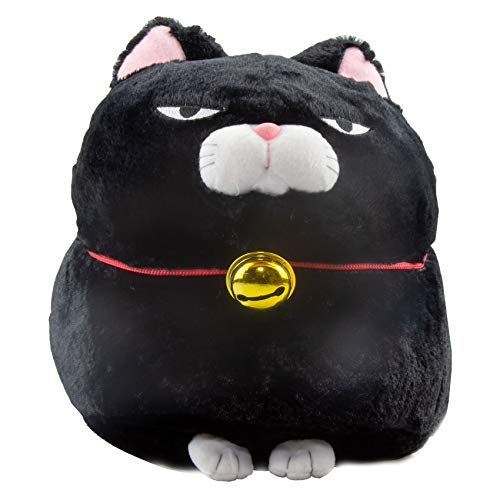 Higemanju Amuse Cat Schwarze Grumpy Cat Katze - Manga Anime Otaku Kawaii Stofftier - Plüschtier Plush Cat Katze Merchandise zum Kuscheln Original aus Japan Höhe 13cm